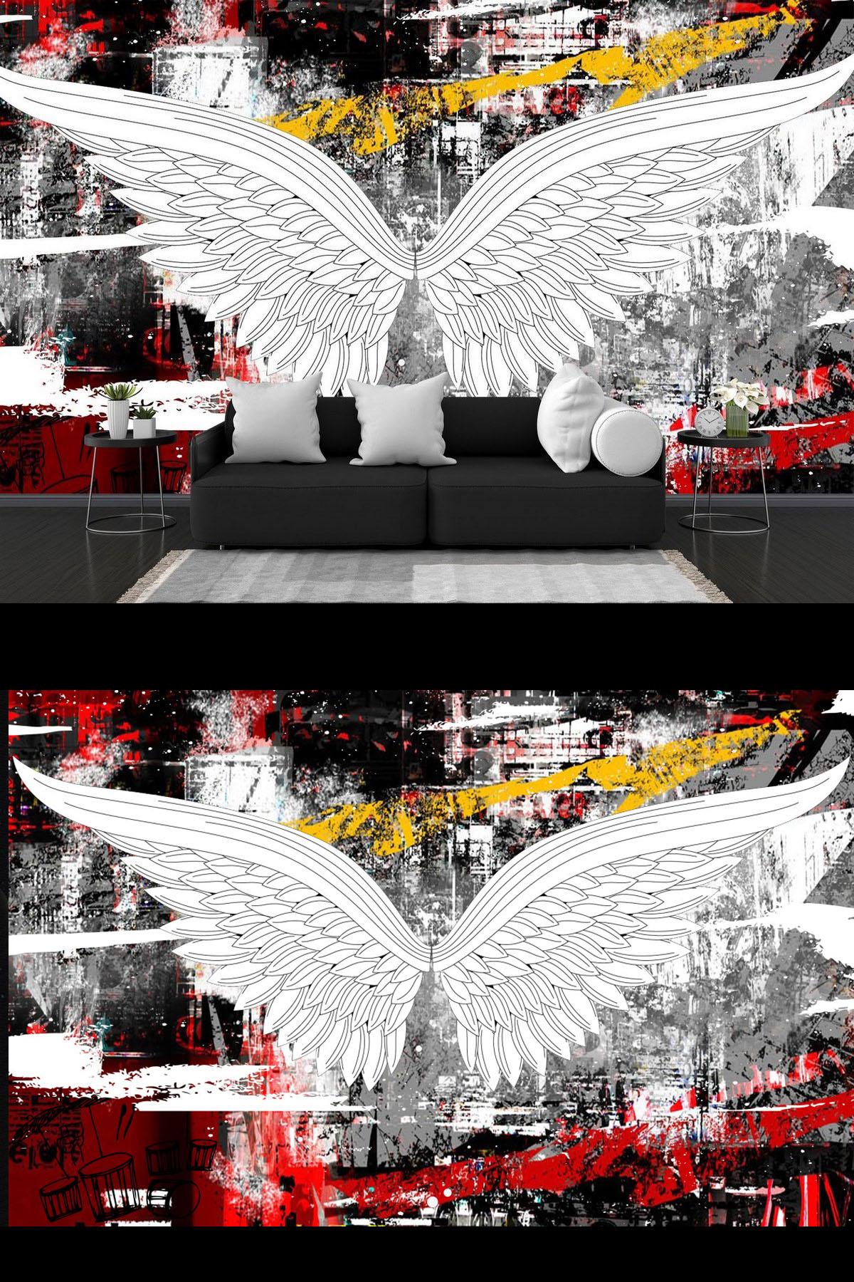 Mẫu tranh dán tường cánh thiên thần